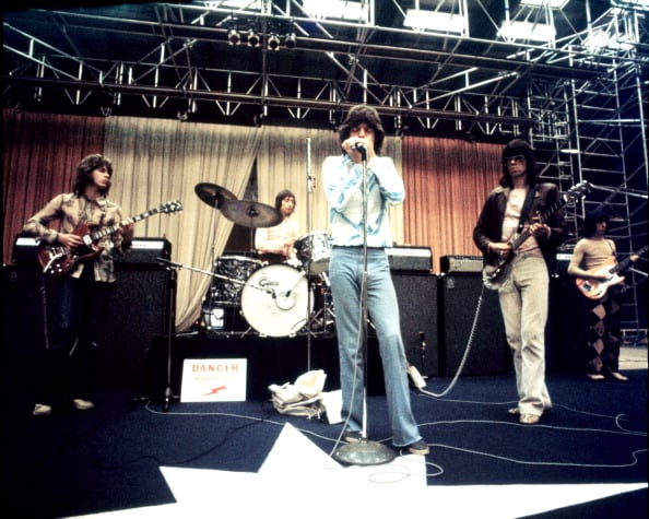 MALMO, SWEDEN - 30th AUGUST: The Rolling Stones rehearse on stage at the Baltiska Hallen in Malmo, Sweden on 30th August 1970. Left to Right: Mick Taylor, Charlie Watts, Mick Jagger, Keith Richards and Bill Wyman. (Photo by Jan Persson/Redferns)