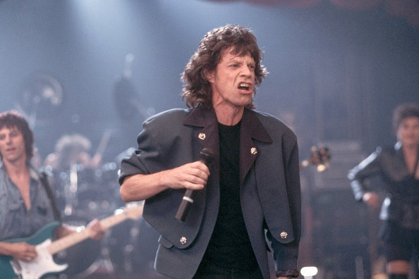 "Mike Jagger during the taping of the video for the song ""Throwaway"". (Photo by Henry Diltz/Corbis via Getty Images)"
